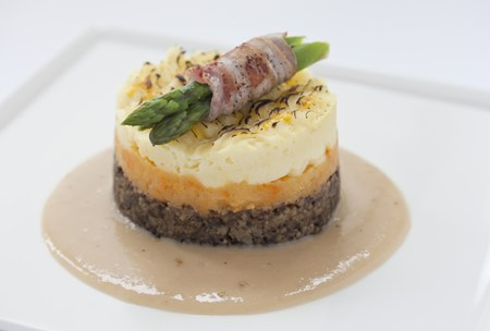 Haggis, neeps and tatties stack